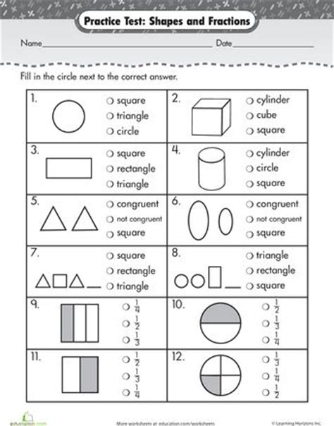 practice test simple shapes fractions shape simple
