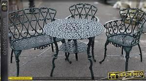 Salon De Jardin Romantique : banc de jardin cr me en fer forg ~ Dailycaller-alerts.com Idées de Décoration