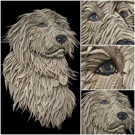 dog portrait  corrugated cardboard  ali golzad