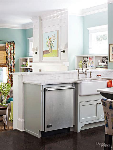 kitchen peninsula with sink playful cottage kitchen tour 5519