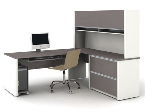 l shaped desk with shelves modern l shaped white gray solid wood desk with shelf and