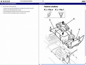 Service Manual  2001 Acura Mdx Center Console Removal