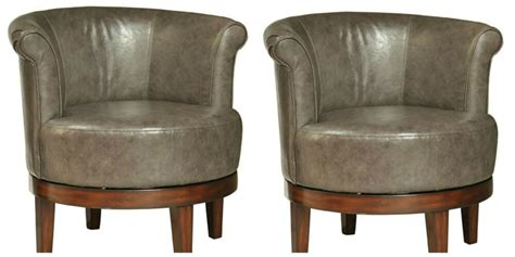 Two Rich Vintage Style Swivel Accent Club Chair Gray