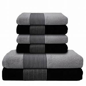 Handtücher Set Grau : 6 tlg handtuch set 2 duscht cher badet cher 4 handt cher schwarz hell grau ebay ~ Indierocktalk.com Haus und Dekorationen
