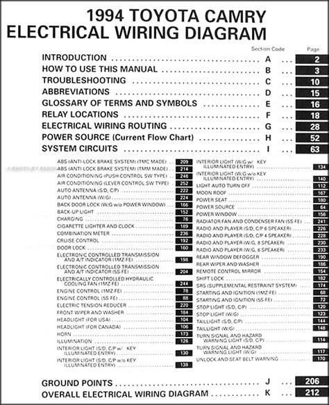 1994 Toyotum Camry Electrical Diagram by 1994 Toyota Camry Wiring Diagram Manual Original
