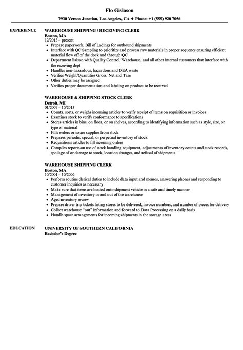 warehouse shipping clerk resume sles velvet