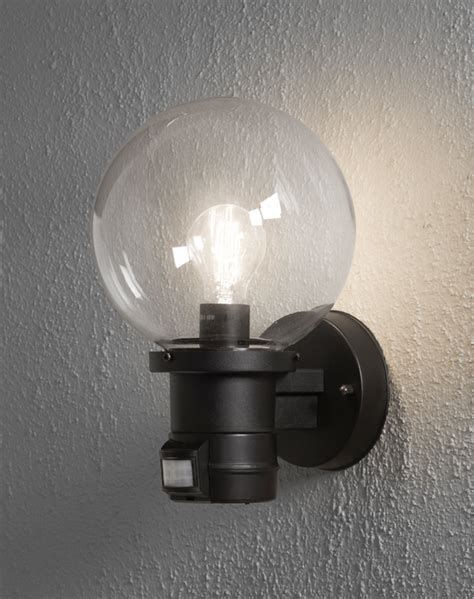 konstsmide nemi 1 light outdoor wall fitting with pir