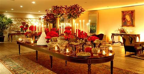 beautiful red  gold dessert table  casa fasano