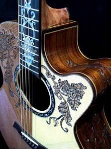 "Custom Made Blueberry ""Split-Top"" Floral Motif Acoustic ..."