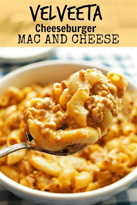 These days we have fancy mac and cheese with this super easy homemade recipe is made on the stovetop and can be enjoyed as is, or baked. Velveeta Cheese Burger Mac and Cheese/ The Skinny Pot in 2020 | Ground beef recipes