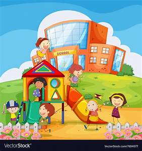 Children playing in the school playground Vector Image
