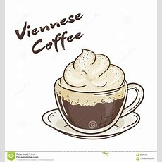 Vector Printable Illustration Of Isolated Cup Of Viennese Coffee With Label Stock Vector Image