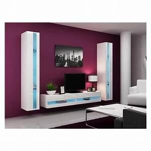 Meuble Mural Chambre : ensemble meuble tv mural olermo blanc achat vente meuble tv pas cher couleur et ~ Teatrodelosmanantiales.com Idées de Décoration