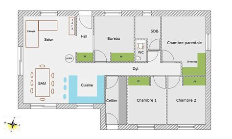 plan maison plain pied 2 chambres gratuit plan gratuit de maison plain pied 4 chambres ventana