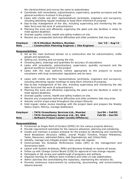 Resume Format For Civil Project Manager by Pankaj Resume Construction Project Manager