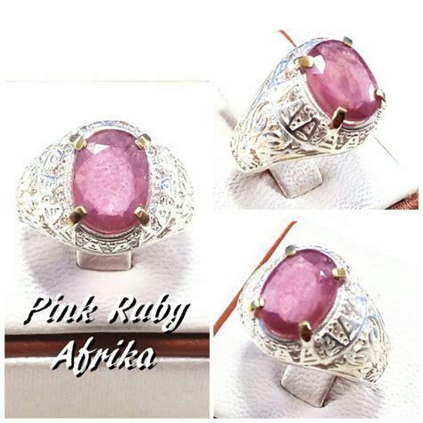 jual cincin batu akik permata natural cutting pink ruby afrika mewah termurah di lapak