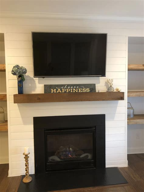 shiplap   mantle  fireplace
