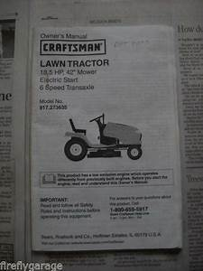 Craftsman Owners Manual Lawn Tractor