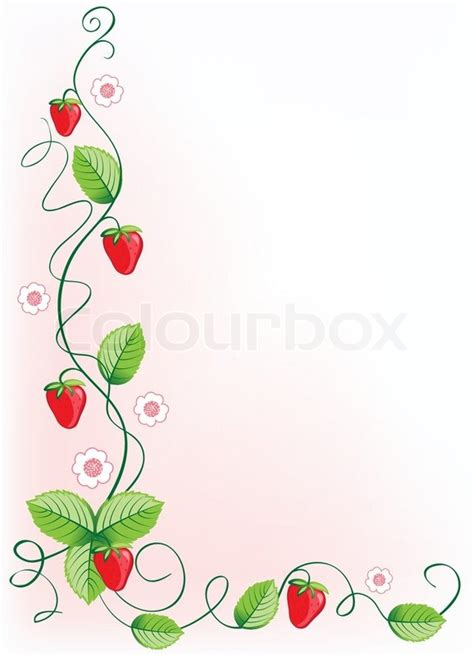 green home plans free ripe strawberries and green leaves with flowers vector