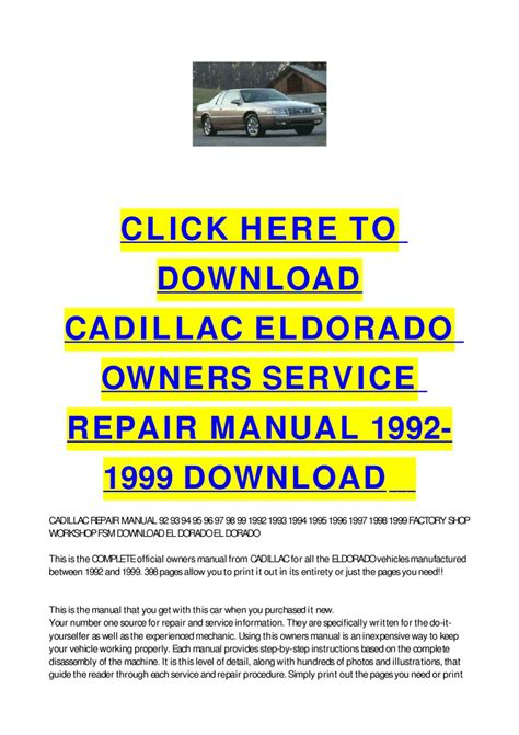 free download parts manuals 1993 cadillac eldorado transmission control cadillac eldorado owners service repair manual 1992 1999 download by cycle soft issuu