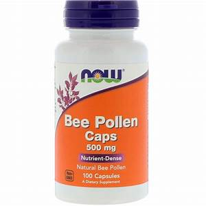 Now Foods  Bee Pollen Caps  500 Mg  100 Capsules