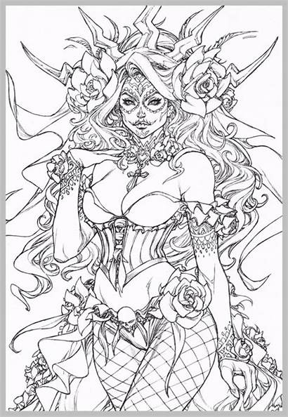 Coloring Gothic Fairy Pages Adult Steampunk Printable