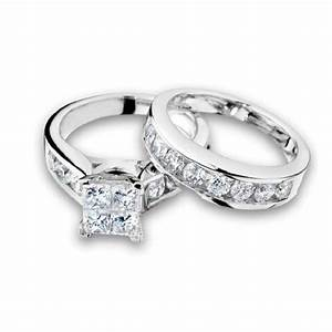 princess cut diamond engagement ring and wedding band set With engagement and wedding ring in one