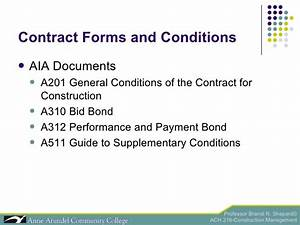 ach 216 lecture 04c project award With aia document a312 payment bond