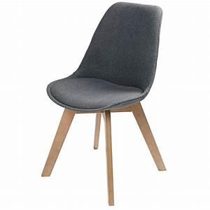 Stühle Mit Stoffbezug : skandinavischer stuhl mit grau meliertem stoffbezug ice maisons du monde ~ Markanthonyermac.com Haus und Dekorationen