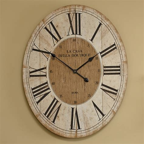 large oval wooden wall clock melody maison