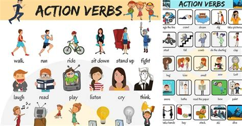 action verbs list   common action verbs  pictures