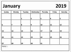 Printable January 2019 Calendar Pdf – Printable Calendar
