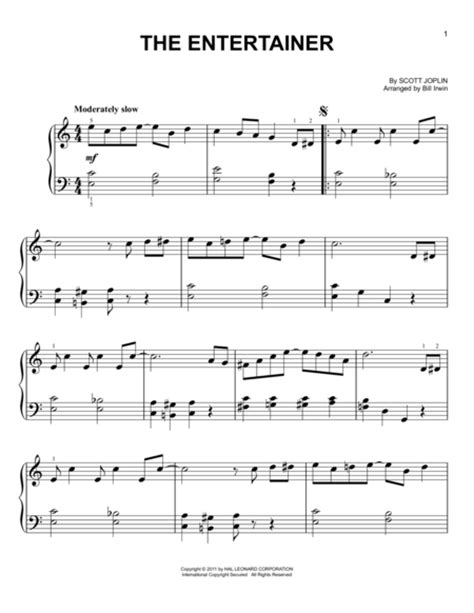 Sheet music sales from usa. Download The Entertainer Sheet Music By Scott Joplin - Sheet Music Plus