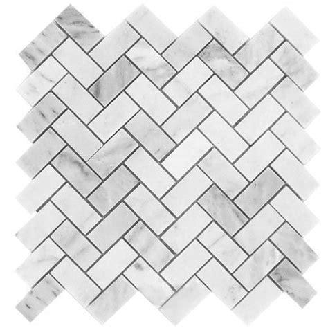 herringbone marble 11 45sf carrara herringbone marble mosaic tile