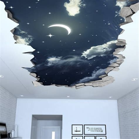 night sky  effect ceiling  wallpaper  wall decals etsy
