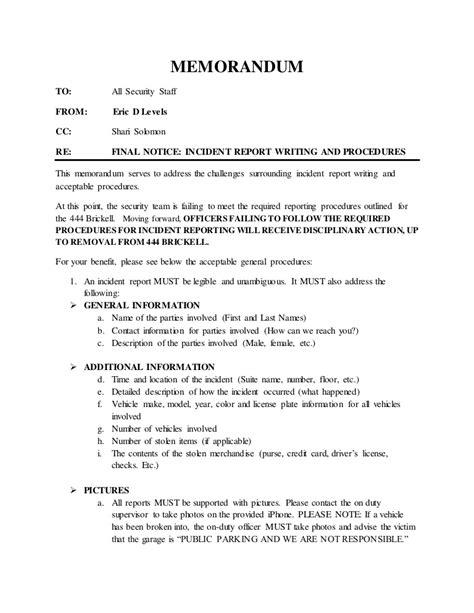 incident report writing  procedures memorandum