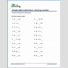 Grade 1 Math Worksheet  Single Digit Subtraction Missing Number  K5 Learning