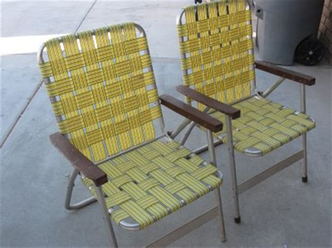 vintage 2 pair retro webbed aluminum high back folding