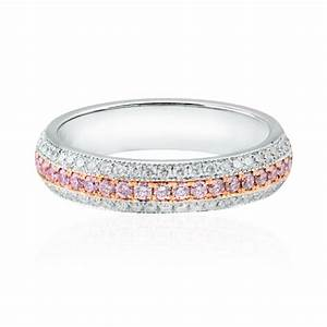 Pink diamond pave wedding ring for Pink diamond wedding rings