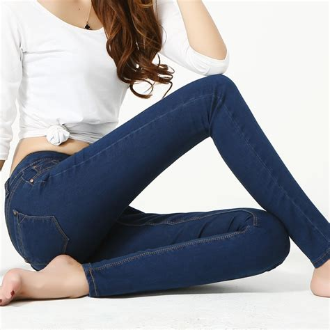 Fashion 90s Girls Skinny Jeans Sexy Slim Casual Ladies Women Pencil Pants Maxi Large Size Black