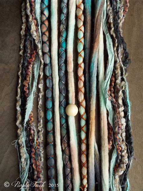10 Mixed Native And Sand Tie Dye Wool Synthetic Dreadlock