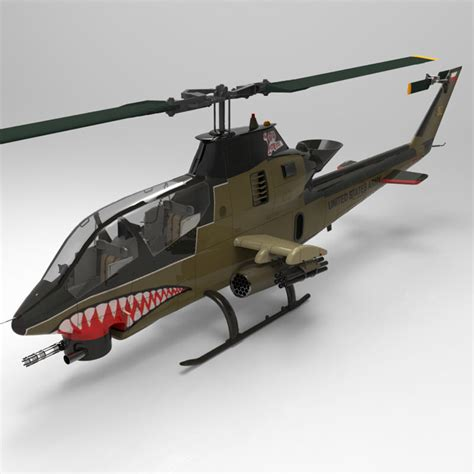 Ah-1 Cobra Helicopter 3d Model Rigged Max Obj Mtl Pdf