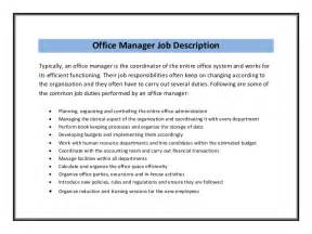 office manager description for resume office manager resume sle pdf