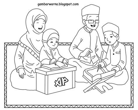 gambar mewarnai keluarga muslim belajar gambar