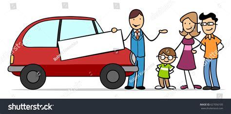 Cartoon Family Car Dealer Buying Car Stock Illustration
