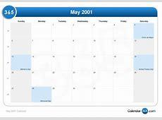 May 2001 Calendar