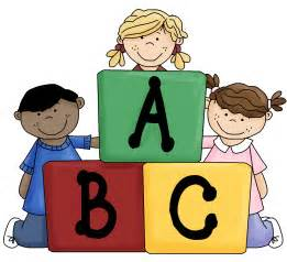 Kids Playing with Blocks Clip Art