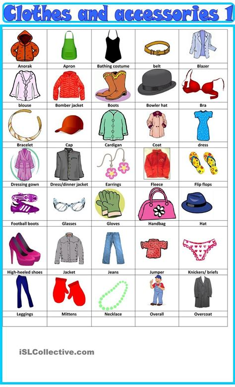 Clothes & Accessories Vocabulary  Esl Teaching Notes  Pinterest  Vocabulary, English