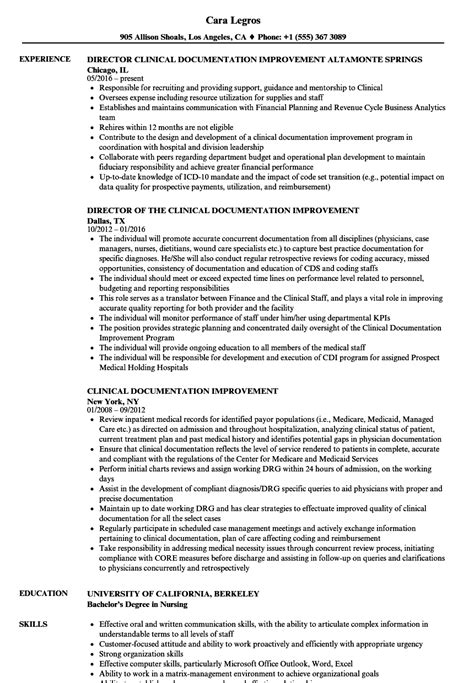 Clinical Documentation Specialist Resume by Clinical Documentation Improvement Resume Sles Velvet