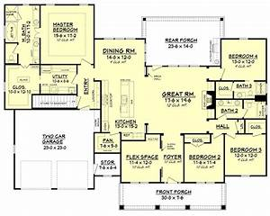 4 bedroom 3 bath house plans 1 story 2500 bed 102 With 4 bedroom and 3 bathroom house